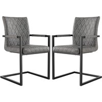 Product photograph showing Kalamazoo Grey Faux Leather Carver Dining Chairs In Pair
