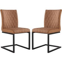 Product photograph showing Kalamazoo Tan Faux Leather Cantilever Dining Chairs In Pair
