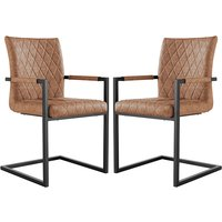 Product photograph showing Kalamazoo Tan Faux Leather Carver Dining Chairs In Pair