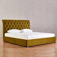 Kalispell Plush Velvet Single Bed In Mustard