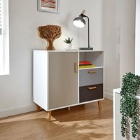 Kallie Compact Sideboard In White With Two Drawers