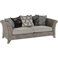 Product photograph showing Kangus Fabric Upholstered 3 Seater Sofa In Silver And Grey