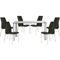 Product photograph showing Kansas Clear Glass Dining Table With 6 Black Leather Chairs