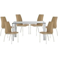 Product photograph showing Kansas Clear Glass Dining Table With 6 Stone Leather Chairs