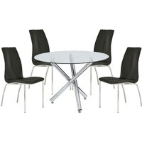 Product photograph showing Kansas Round Glass Dining Table With 4 Black Leather Chairs