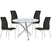 Kansas Round Glass Dining Table With 4 Black Leather Chairs