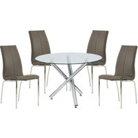 Product photograph showing Kansas Round Glass Dining Table With 4 Grey Leather Chairs