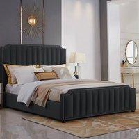 Kapolei Plush Velvet Single Bed In Black