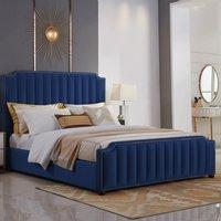 Kapolei Plush Velvet Single Bed In Blue