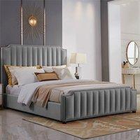 Kapolei Plush Velvet Single Bed In Grey