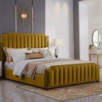 Kapolei Plush Velvet Single Bed In Mustard