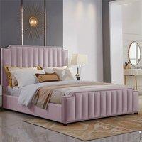 Kapolei Plush Velvet Single Bed In Pink
