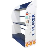 Product photograph showing Karley Bookcase In White And Blue