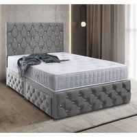 Karlstad Plush Velvet Divan Single Bed In Grey