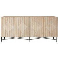 Karot Wooden 4 Doors Sideboard In Light Grey