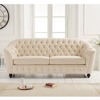 Product photograph showing Karrio Linen Fabric 3 Seater Sofa In Beige