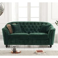 Karrio Velvet Upholstered 2 Seater Sofa In Green