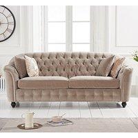 Product photograph showing Karrio Velvet Upholstered 3 Seater Sofa In Mink