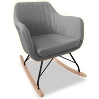 Katell Fabric Rocking Chair In Light Grey With Wooden Base