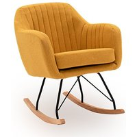Product photograph showing Katell Fabric Rocking Chair In Mustard With Wooden Base