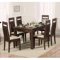 Kaveh Extending Dark Oak Dining Table With 8 Cream Chairs