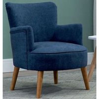 Product photograph showing Keira Fabric Upholstered Armchair In Midnight Blue