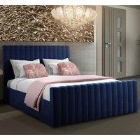 Kelowna Plush Velvet Upholstered Single Bed Blue