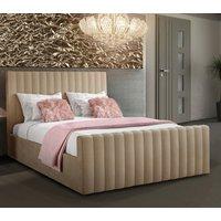 Kelowna Plush Velvet Upholstered Single Bed Mink