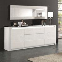 Kemble Large Wooden Sideboard In White High Gloss With LED