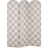 Product photograph showing Kenmore Canvas Room Divider Screen In Tartan Plaid Design