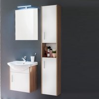 Product photograph showing Kensa Wall Mounted Bathroom Set In White Rough Sawn Oak And Led