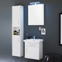 Product photograph showing Kensa Wall Mounted Bathroom Set In White Gloss Fronts And Led