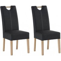 Product photograph showing Kensington Anthracite Leather Dining Chair With Oak Leg In Pair