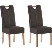 Product photograph showing Kensington Chocolate Leather Dining Chair With Oak Leg In Pair