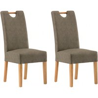 Product photograph showing Kensington Grey Leather Dining Chair With Oak Leg In Pair
