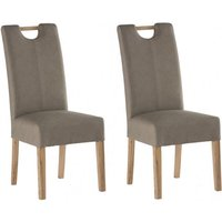 Product photograph showing Kensington Mocha Leather Dining Chair With Oak Leg In Pair