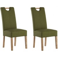 Product photograph showing Kensington Sage Green Leather Dining Chair With Oak Leg In Pair