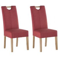 Product photograph showing Kensington Soft Red Leather Dining Chair With Oak Leg In Pair