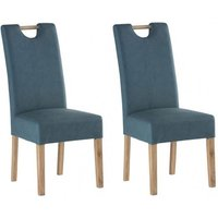 Product photograph showing Kensington Teal Blue Leather Dining Chair With Oak Leg In Pair
