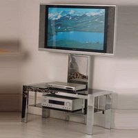 image-Naxis Plasma LCD TV Stand In Black Glass With Chrome
