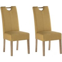 Product photograph showing Kensington Yellow Leather Dining Chair With Oak Leg In Pair