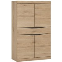 Product photograph showing Kenstoga Wooden 4 Door 1 Drawer Storage Cabinet In Grained Oak
