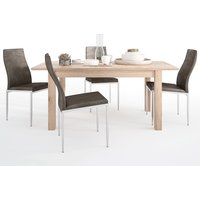 Product photograph showing Kenstoga Extending Dining Table With 4 Mexa Brown Leather Chairs