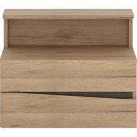 Kenstoga Left Handed 2 Drawers Bedside Cabinet In Grained Oak