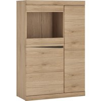 Product photograph showing Kenstoga Wooden 3 Doors Glazed Display Cabinet In Grained Oak