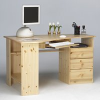 Product photograph showing Kent Wooden Corner Computer Desk In Natural