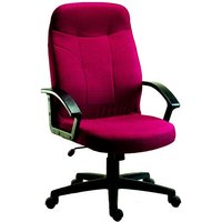 Kenton Fabric Executive Office Chair In Burgundy With Castors