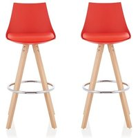 Kenzie Bar Stools In Red Faux Leather Seat Pad In A Pair