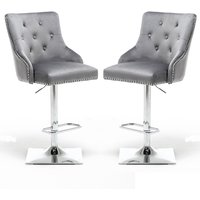 Product photograph showing Kepro Dark Grey Velvet Upholstered Gas-lift Bar Chairs In Pair