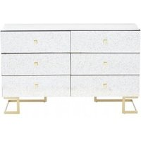 Product photograph showing Keseni Chest Of Drawers In Silver With 6 Drawers